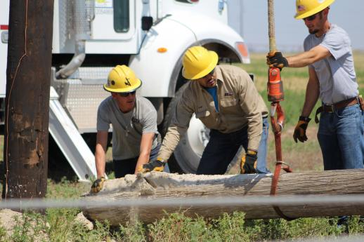 Photo of three BCEC linemen working on setting a pole